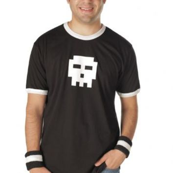Scott Pilgrim vs. The World Pixel Skull Adult Black with White Ringers T-shirt