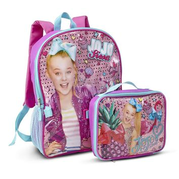 "Jojo Siwa 16"" Backpack with Detachable Insulated Lunch Box, Sparkly Unicorn"