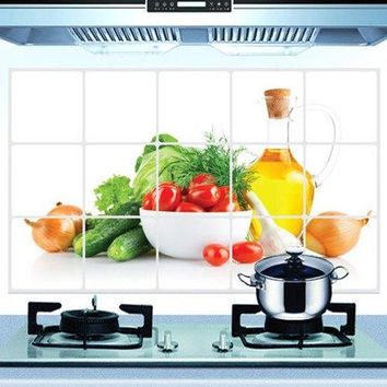 Fashion Oil-Proof Vegetable Pattern Kitchen Tile Decoration Wall Stickers