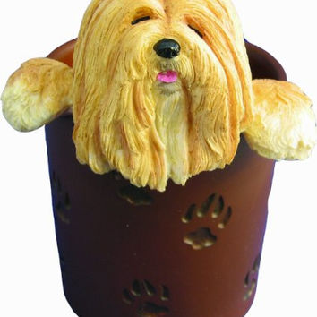 Lhasa Apso Pencil Cup Holder with Realistic Hand Painted Lhasa Apso Face and Paws Hanging Over Cup, Uniquely Designed Lhasa Apso Gifts, A Convenient Organizer for Home or Office, One Of A Kind Pen Holder