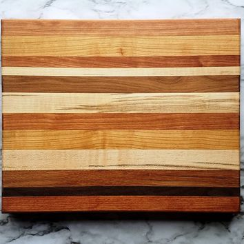 Multi-Color Rectangle Wood Cutting Board, Random Layout, Walnut, Cherry & Maple Wood