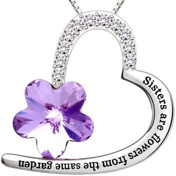 """Jewelry Sterling Silver """"Sisters are flowers from the same garden"""" Love Heart Crystal Cubic Zirconia Pendant Necklace"""