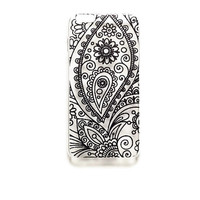 iPhone 6 Case Paisley Cover Tribal Pattern iPhone 6 Hard Case Geometric Mandala Back Cover For iPhone 6 Slim Design Case Black Henna 6124
