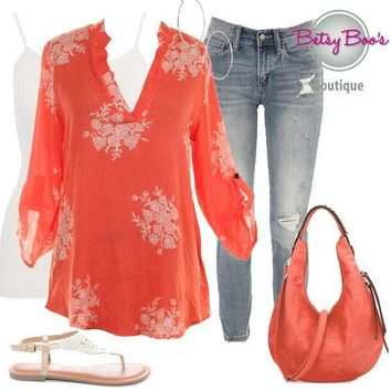 (pre-order) Set 326: Coral Floral Rolled Sleeve Blouse (incl. blouse, tank & earrings)