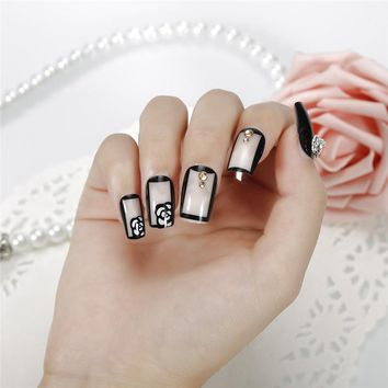 24 Pcs/1 Set ELECOOL B34 False Nail Tips Full Patch Wraps DIY Nail Decals For Women and Girls Wedding Home Use or Salon Use
