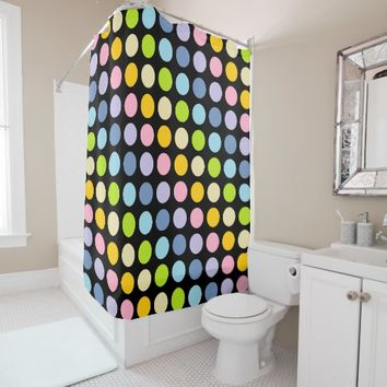 Pastel Rainbow Polka Dots Black Shower Curtain