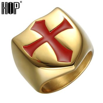 HIP Hop Mens Chunky Red Cross Ring Gold Color Stainless Steel Knights Templar Armor Rings For Men Jewelry