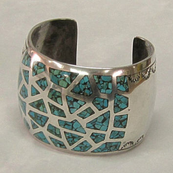 Vintage Navajo Native American Wide Cuff Bracelet Set with Turquoise