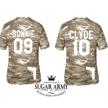 Bonnie and clyde tshirts SPECIAL EDITION with guns, Army Bonnie and Clyde shirts, Couple matching shirts, Pärchen-T-shirts,