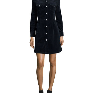Pixie Long-Sleeve Denim Shirtdress, Dark
