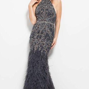 Jovani - 51501 Halter Feather Embellished Evening Dress