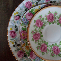 3 Vintage Plates Roses Floral English Bone China Mismatched Serving Entertaining Tea Party Wedding Dining Serving Entertaining