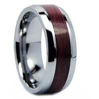 8MM Men's Tungsten Carbide Ring Wedding Band Wood Inlay Sizes 7 to 13