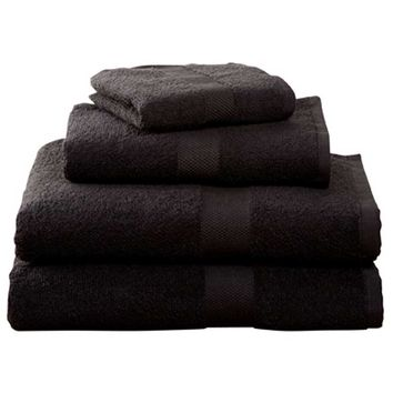 Black Four-Piece Cotton Towel Set | | OCM.com