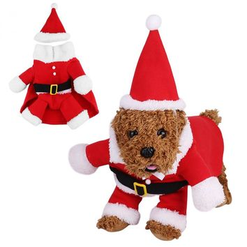 Christmas Pet Dog Clothes Funny Santa Claus Costume with Hat Chihuahua Coat Clothing Cute Pet Christmas Outfit for Dogs Cats