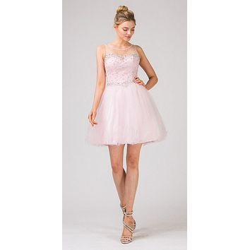 Illusion Neckline Keyhole Back Short Pink Puffy Prom Dress