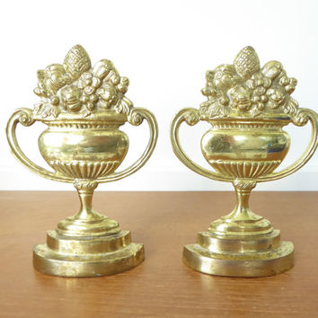 Classical brass floral urn bookends