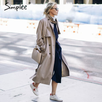 Simplee Slim sashes long trench coat Elegant double breasted autumn coat Women winter 2016 khaki pocket coat streetwear