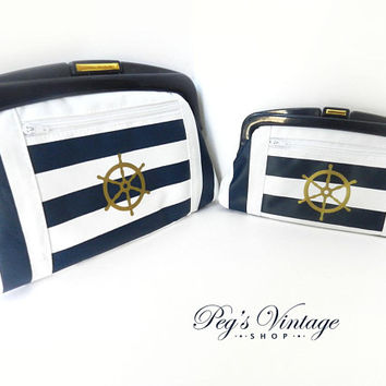 Vintage Nautical Striped Purses / Wallet / Cosmetic Bags, Blue & White Lucite Frame Bags, Set Of Two