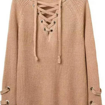Eyelet With Lace Up Detail Full Fashion Sweater Tunic