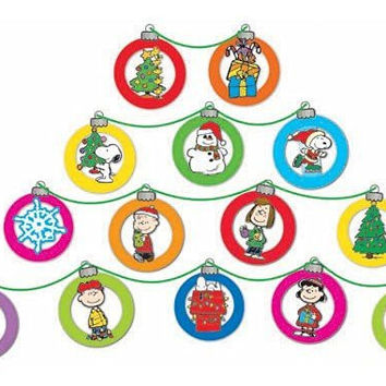 Eureka Peanuts Dimensional Christmas Ornaments Mini Bulletin Board Set, 24 Reusable Punch Out Pieces