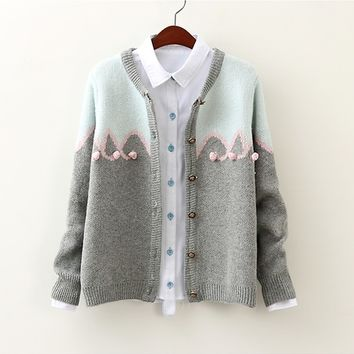 Lolita pink woolen ball blue and grey cardigan sweater