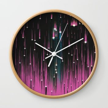 Pink Meteors Wall Clock by DuckyB