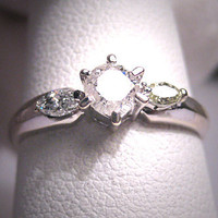 Vintage Diamond Wedding Ring 18K White Gold 1/2ctw 7