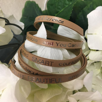 """""""You Are Beautiful..."""" Wrap Around Good Works Bracelet in Tan"""