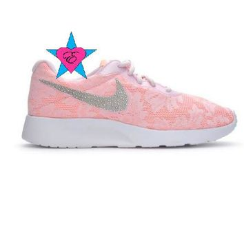 Bling Pink Lace Nike Tanjun ENG Shoes