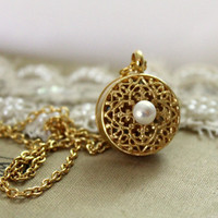 Vintage style necklace shabby chic victorian 14k gold plated gold ,lace and pearls necklace .