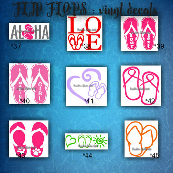 FLIP FLOPS vinyl decals | summertime | beach | decal | sticker | car decals | car stickers | laptop sticker - 37-45
