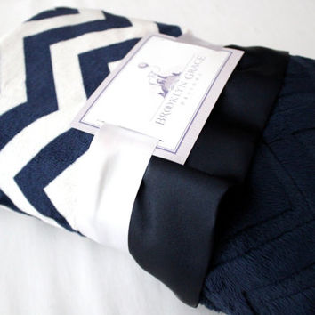Navy and White Chevron with Solid Navy Embossed Chevron on Reverse - Baby Blanket - Baby Girl, Crib Bedding, Infant and Toddler, Nautical