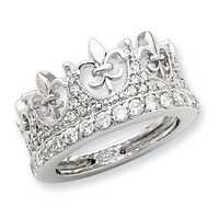 Sterling Silver Fleur-de-lis Crown CZ Ring Size 6