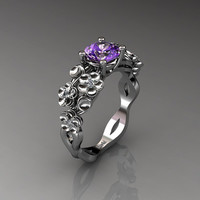 Nature Inspired 14K White Gold 1.0 Ct Amethyst Diamond Floral Engagement Ring R1022-14KWGDAM