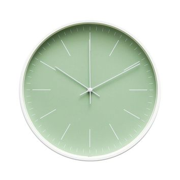 """Contemporary Interior Design Minimalist Palette 12"""" Silent Non-Ticking Sweep Wall Clock with White Gloss Frame (Seafoam Green)"""