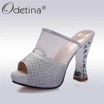 Odetina 2018 New Fashion Women Genuine Leather Mules Pumps Peep Toe Crystal Bling Party Shoes Square High Heels Slip On Pumps