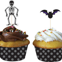 Halloween Cupcake Wrappers with Picks (12)