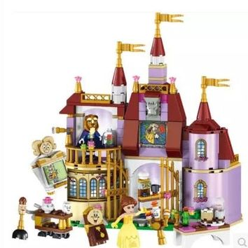 Disney Cute Toys Beauty And The Beast Princess Belle'S Enchanted Castle Building Blocks Toys The Best Gift For Childrens