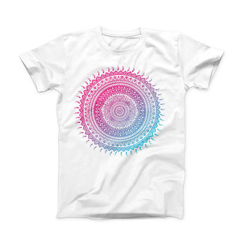 The Ethnic Indian Tie-Dye Circle ink-Fuzed Front Spot Graphic Unisex Soft-Fitted Tee Shirt