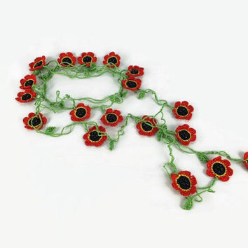 MOTHERS DAY Boho Crochet Red Poppy Flower Necklace-  Crochet Lariat Necklace,  Unique freeform Oya Infinity Wrap Accessory,Crochet Flower Sc
