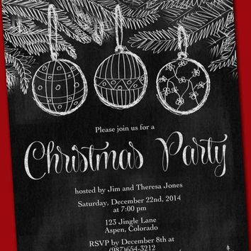 Chalkboard Christmas party invitation card hand painted printable custom