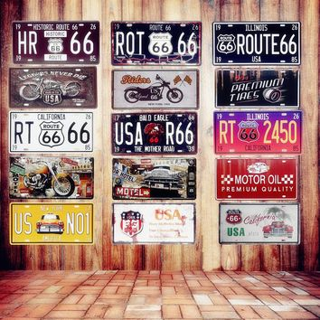 USA Vintage Metal Tin Signs Route 66 Car Number License Plates
