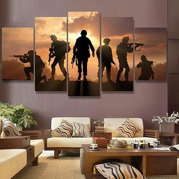 HD Print abstract soldiers sunset  Painting on canvas wall art picture for home decor print canvas painting picture /PT0539