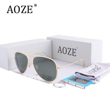 AOZE Luxury Brand Design men women driving Polarized lenses Aviator sunglasses 60mm Gafas Mirror oculos G15 eyeglasses with box