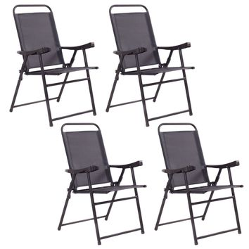 Set Of 4 Folding Sling Chairs Patio Furniture Camping Pool Beach With Armrest