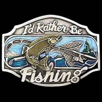 Sports Accessories - I'd Rather Be Fishing Enameled Belt Buckle