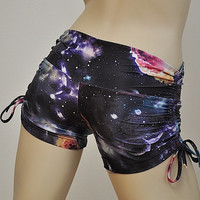 Hot Yoga Shorts Midnight Galaxy Item 4658 by SXYfitness on Etsy