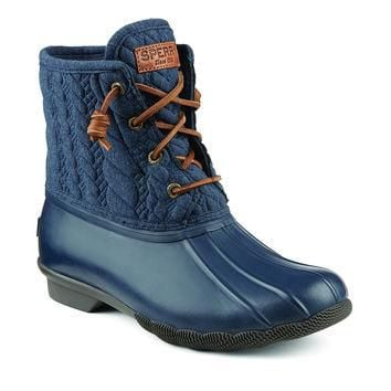 Women's Saltwater Rope Embossed Duck Boot in Navy by Sperry - FINAL SALE