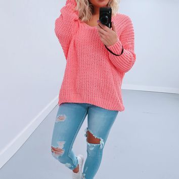 Restock: The Kelsey Sweater: Flamingo